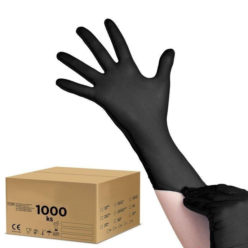 Jednorázové nitrilové rukavice černé - velikost M - karton 10ks