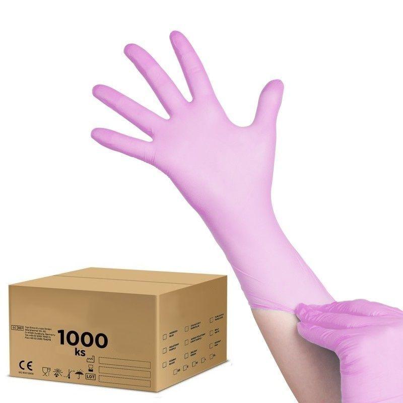 Jednorázové nitrilové rukavice růžové - velikost S - karton 10ks