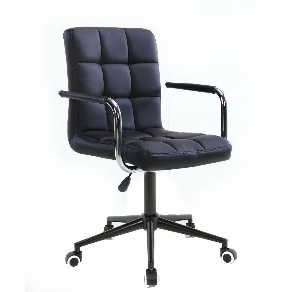 Kosmetická židle 1015KP na černé podstavě s kolečky -  černá