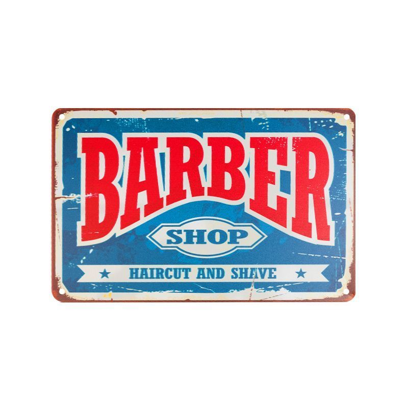 Plechová retro cedule Barbershop B006