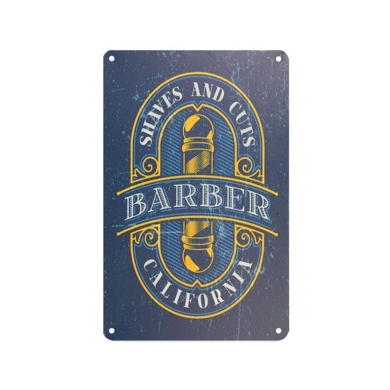 Plechová retro cedule Barbershop B075