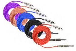 Tetovací propojovací silikonový RCA kabel černý - 2,5 m